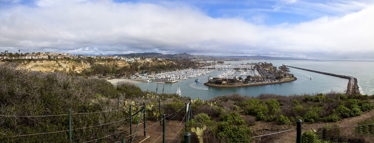 Dana Point Harbor from the hiking path above in Southern California, USA on a sunny day California Coast Coastal Coastline Dana Point Harbor Dana Point, Ca Harbor Landscape Ocean Ocean View Overlook Panorama Panoramic Ship USA View Wilderness