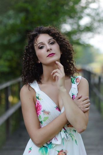 Brembo  Fiume Brembo Dress Hair Hair Brown Curly Hair Photooftheday Photoshoot Photomarcof Young Women Beautiful Woman Beauty Flower Beautiful People Curly Hair Arts Culture And Entertainment Fashion Portrait Tree Posing