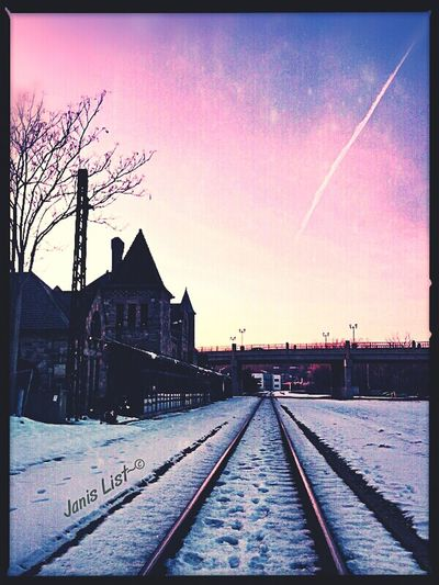 Architecture Sunset Winter Michigan Train Tracks #sunset #sun #clouds #skylovers #sky #nature #beautifulinnature #naturalbeauty #photography #landscape Eye4photography  Ee_daily