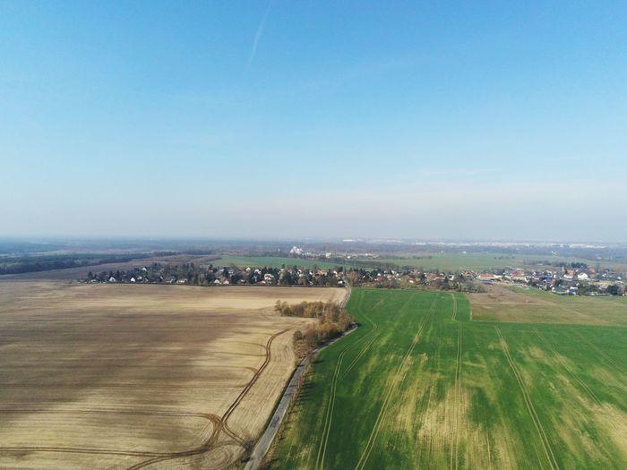 Ein toller Drohnenshot von mir in Brandenburg aufgenommen Parrot Drone  Day Outdoors Field Clear Sky No People Beauty In Nature High Angle View First Eyeem Photo