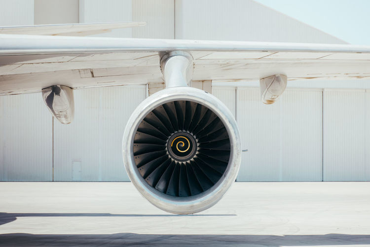 View of airplane wheel