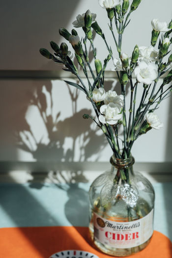 Close-up of white flower vase on table at home