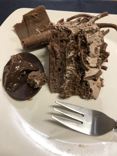 Close-up of chocolate cake in plate