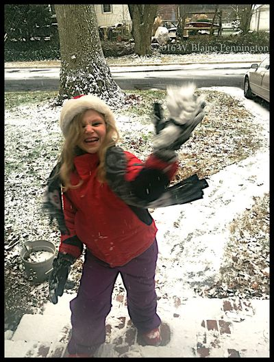 Jessie tossing her first snowball of the storm Snow ❄ coming Epic Snow