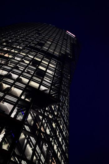 Skyscraper Berlin Architecture Building Windows Office Germany Evening Light Bright Viewfromunder Built Structure Night Building Exterior Low Angle View Modern Clear Sky No People City Outdoors Sky