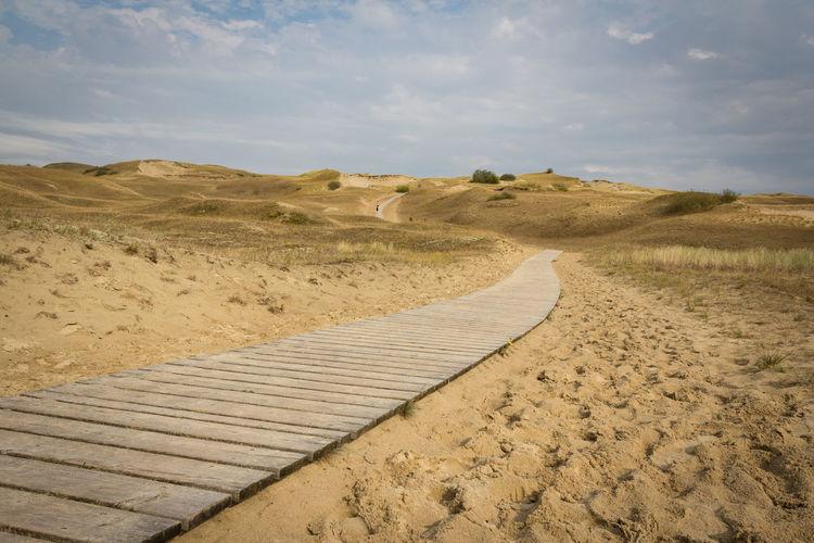 Boardwalk leading through desert