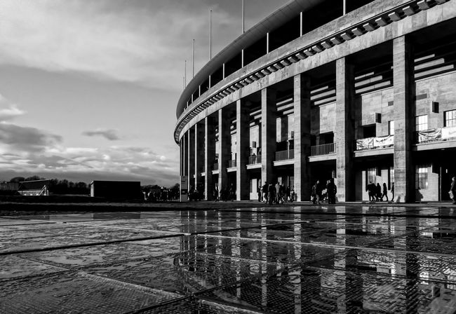 Architecture Architecture_bw Berlin Blackandwhite Building Exterior Built Structure Capital Cities  City Clouds Illuminated Mirros Myfuckingberlin November Olympiastadion Olympic Stadium Reflections Showcase: November Sunset