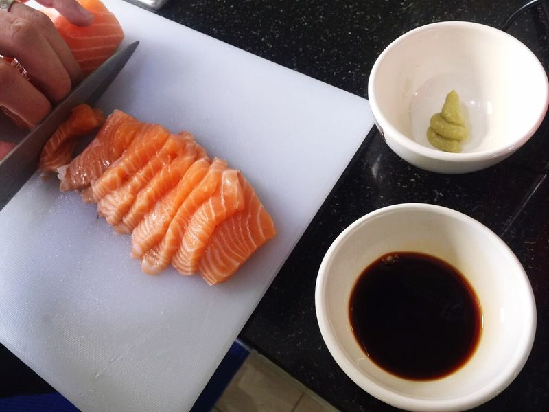 Food Healthy Eating Salmon Japanese Food Food And Drink Sushi Fish Sashimi  Salad Delicious Delicious ♡ Food And Drink Salmon Sashimi SalmonLove