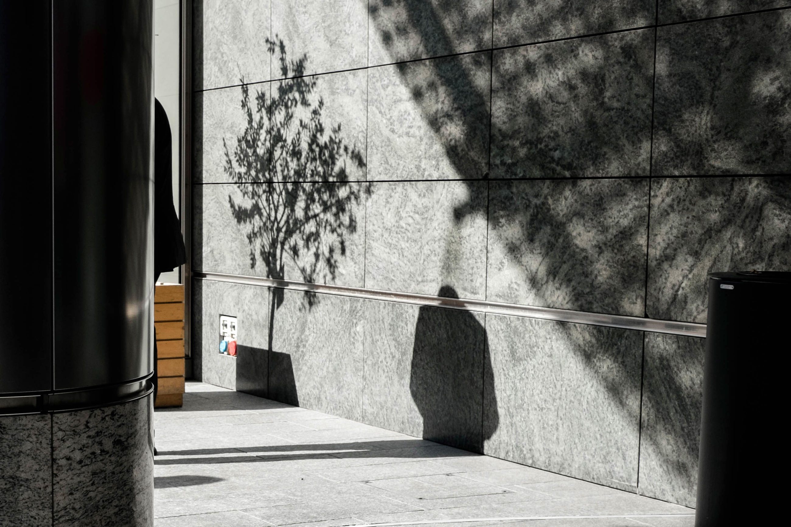 architecture, built structure, wall - building feature, tree, sunlight, plant, nature, day, shadow, no people, building exterior, outdoors, wall, railing, window, building, cable, hanging, safety, concrete