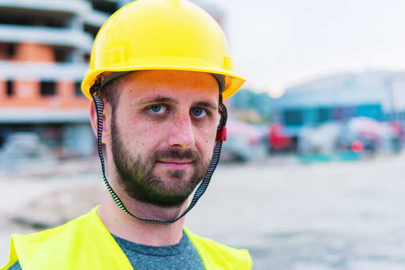 Close-up portrait of construction worker