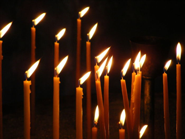 Memories And Hopes Burning Candle Celebration Close-up Day Flame Glowing Heat - Temperature Illuminated Indoors  No People Place Of Worship Religion Spirituality