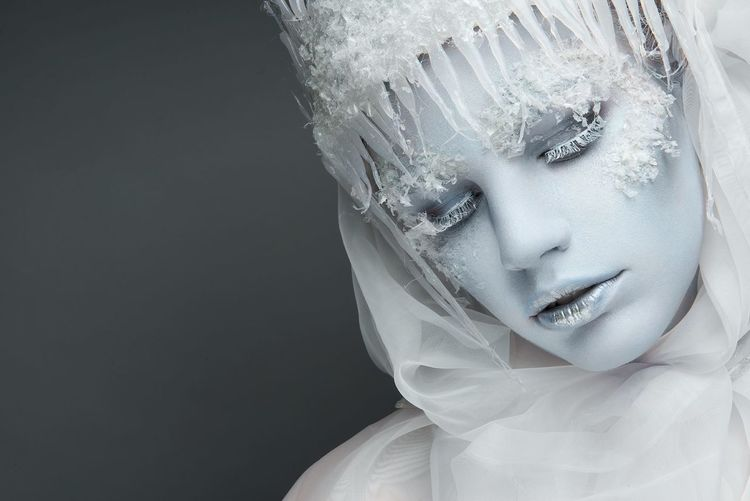 Ice queen Make-up Makeup Black Background Close-up Fantasy Ferrytale Front View Icequeen Indoors  Mannequin White Color