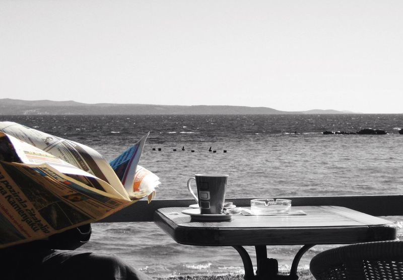 Newspaper Colour Reading & Relaxing Reading Newspaper Sea View View From The Balcony Black And White Drinking Coffee Enjoying Life Split Croatia Beach Morning Ritual