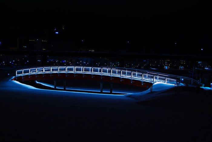 Winter lights are beautiful Lights Long Exposure Night Illuminated Bridge - Man Made Structure Architecture Speed Sport Built Structure Outdoors No People City