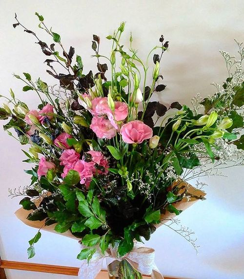 An engagement bunch of copper beech, lisianthus, alstromeria and misty. Seasonalflowers Foliage Flowers Lisianthus Adelaideflowers Flower Bunch Wildbunch Pinks  Whites Florist Seasonal Occasion Adelaide Summer Unstructured Brownpaper Blossomandlace