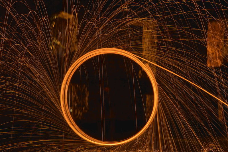 Fireball Spinning At Night