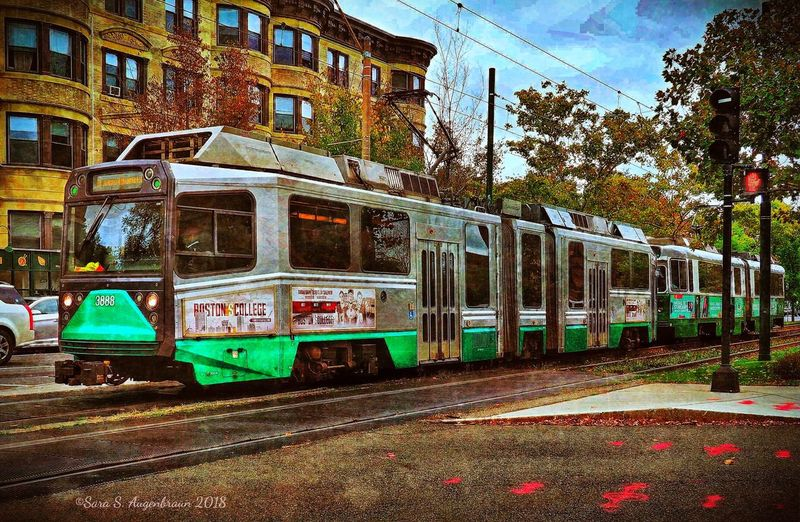 "The Green Line, Boston Olympus OM-D E-M1 Mark II DistressedFX Enlightapp Phototoaster Snapseed Painterly BrooklineMA Train Boston The Greenline The ""T"" Outdoors Railroad Track Transportation City"