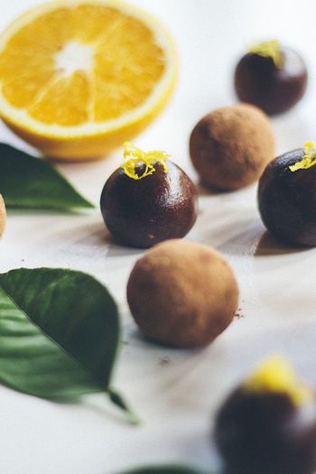 Chocolate balls with orange zest