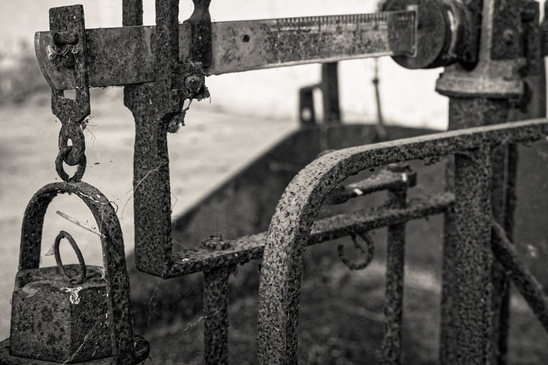 Abandoned Barrier Boundary Chain Close-up Connection Day Fence Focus On Foreground Gate Hanging Metal Nature No People Old Old Scale Outdoors Railing Rusted Metal  Rusty Transportation Weathered Wheel