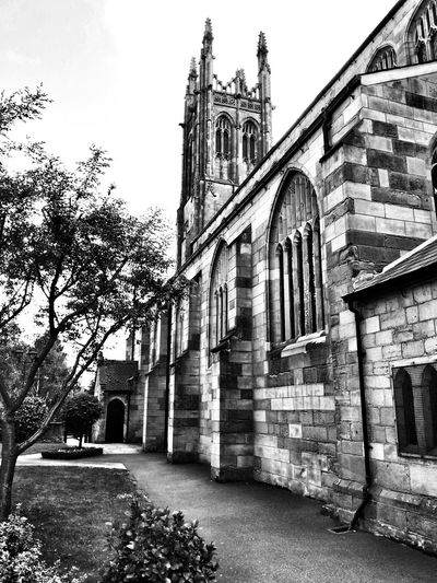 Black & White Old Church Walking Around Town St. Mary's Church