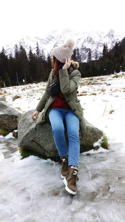 Young Women Water Full Length Women Warm Clothing Snow Winter Sitting Cold Temperature Happiness