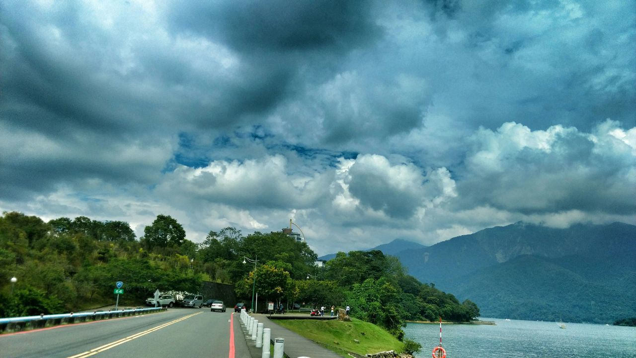 sky, cloud - sky, mountain, transportation, tree, outdoors, nature, road, day, beauty in nature, scenics, no people
