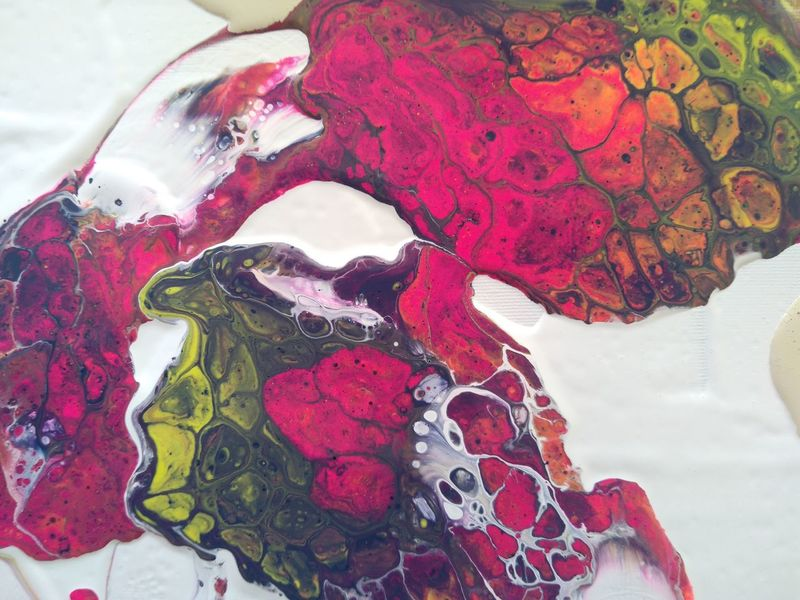 Experiment Poured Paints Acrylic Paint Colorful Pink Paint White Paint Abstract Pattern Abstract Art Painting Process Mix Of Colours Pattern Pattern, Texture, Shape And Form Red No People Close-up Water Microbiology Nature Day