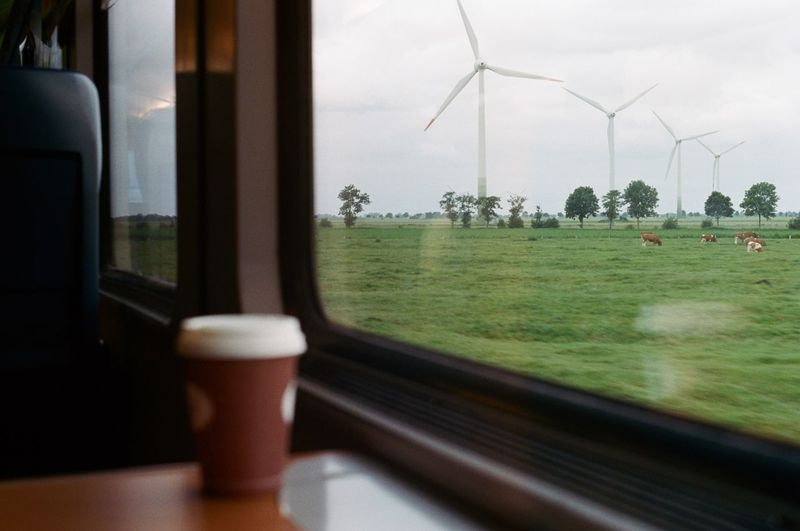 Windmills on field seen through train window