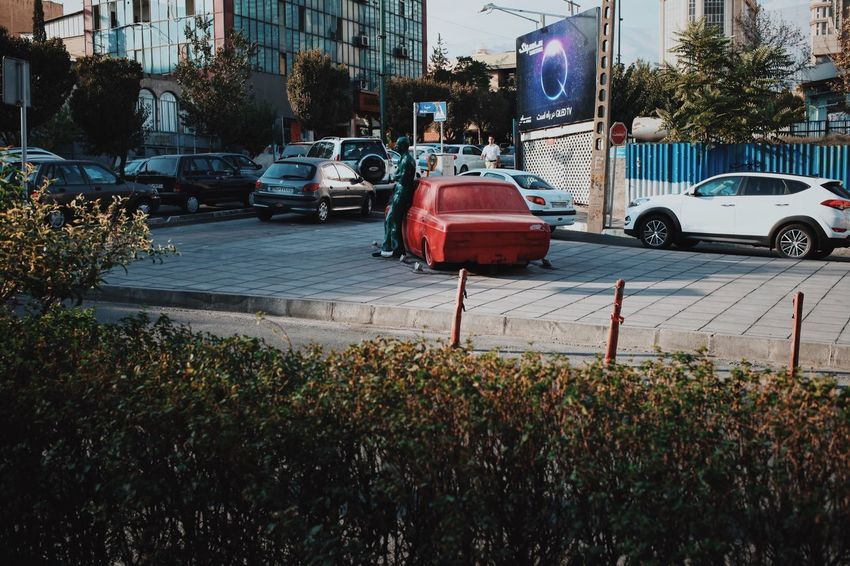Car Land Vehicle Transportation Architecture Street Building Exterior Built Structure Mode Of Transport Outdoors City Tree Day No People Sky Tehran Tehran, Iran Open Edit Art Sculpture Iran Week On Eyeem Architecture Design EyeEm Selects Red Sculpture
