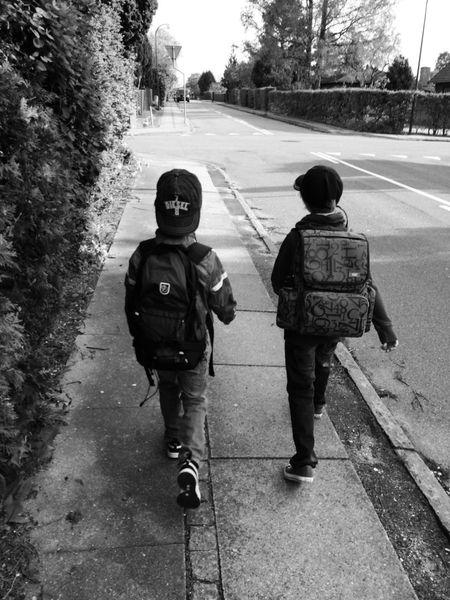 On their way to School . Kids Walking Boys