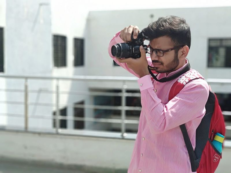 Nikon photography Photoshoot Nikon Camera One Person One Man Only Only Men Adults Only Adult People Young Adult Pink Color Technology Day Eyeglasses  Outdoors Press For Progress EyeEmNewHere This Is Queer Inner Power