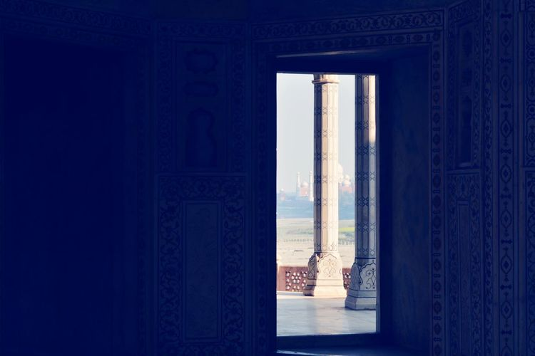 Mughal Architecture Shahjahan Sky Blue Curtain Window Door Architecture Built Structure Historic Closed Door Bas Relief Entryway Passageway Archway