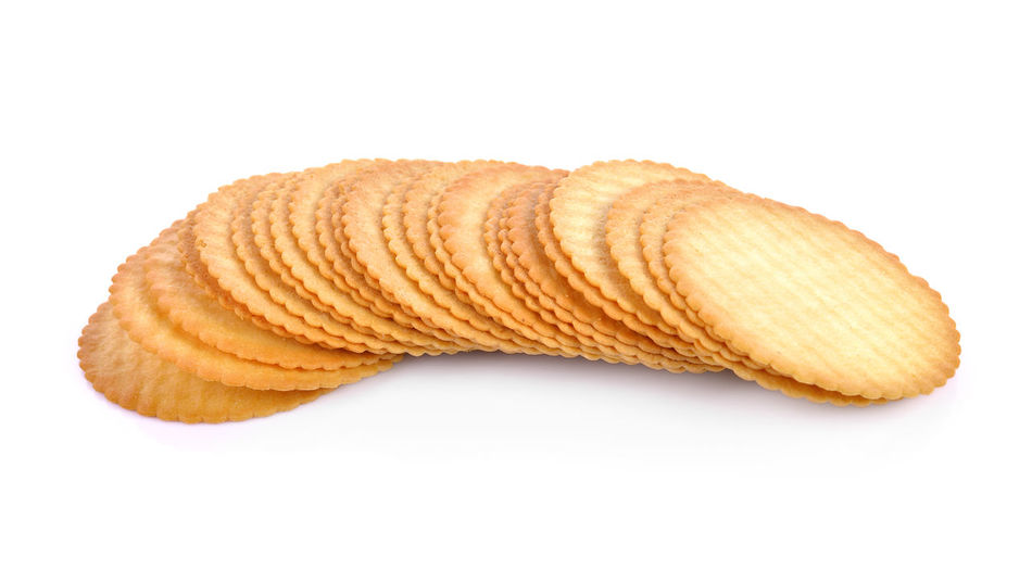 High angle view of bread against white background