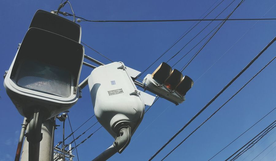 Japan Traffic Lights Blue Sky Cables
