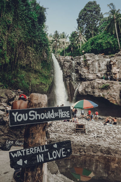 Parasol Jungle Forest Travel Beach Parasols Waterfall Waterfalls Tourists People Crowd Water Spraying Tree City Text Sky Information Street Art Board Western Script Signboard Graffiti Sign Written Capital Letter
