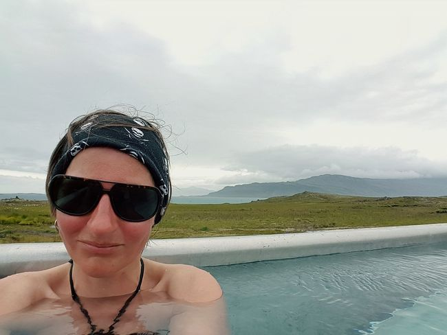 EyeEm Selects Sunglasses Adults Only Water Only Women Outdoors One Person Vacations One Woman Only Nature Leisure Activity Relaxation Adult Sky Mountain Front View Selfie ✌ Take A Bath Relaxing Moments Hot Spring Iceland Iceland_collection Swimming Scenics Breathing Space