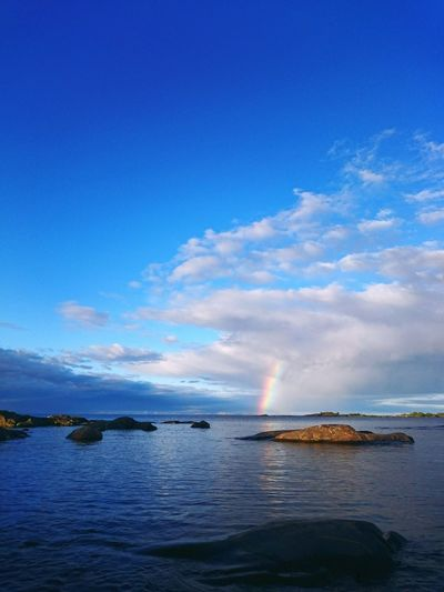 Sea Blue No People Sky Cloud - Sky Water Outdoors Nature Day Beauty In Nature Sea_collection Baltic Sea Seascape Sea And Sky Rainbow Sky Cloud And Sky Cloud_collection  Clouds Scandinavia Rainbow Colors Freshness Vivid Beauty In Nature Rainbow