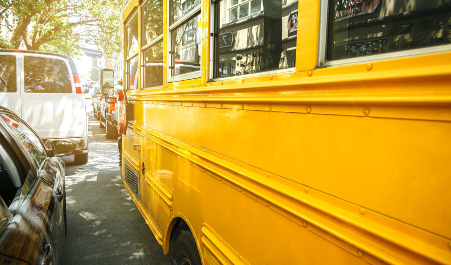 Yellow bus in city