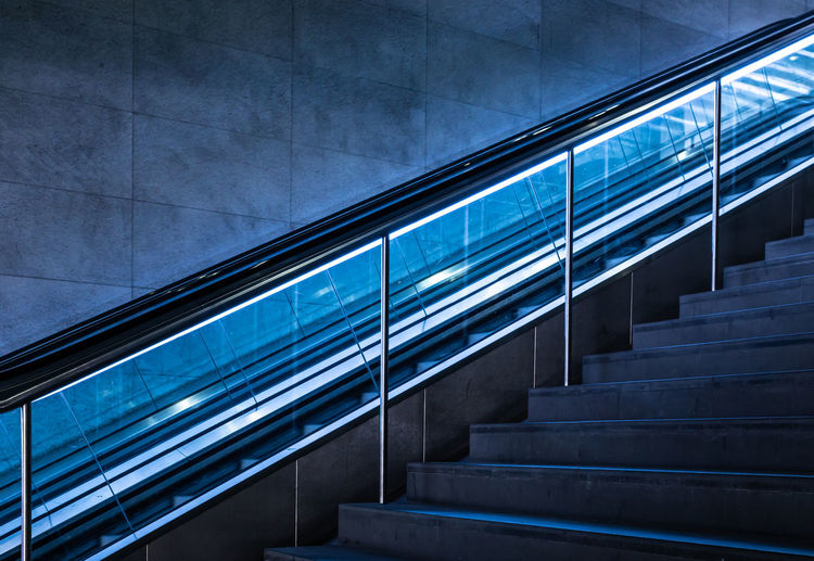 Low angle view of modern escalator