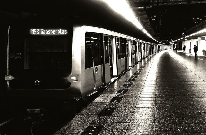 Train at Amsterdam Airport Station Train Station Amsterdam Schiphol Airport Your Amsterdam Black And White Friday