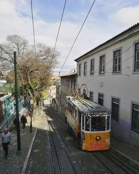 Beautiful Lisbon. Public Transportation Transportation Mode Of Transport City Outdoors Sky Tram No People Nofilter Cityscapes By Tram Lisboa Portugal Lisbona Lisbonne