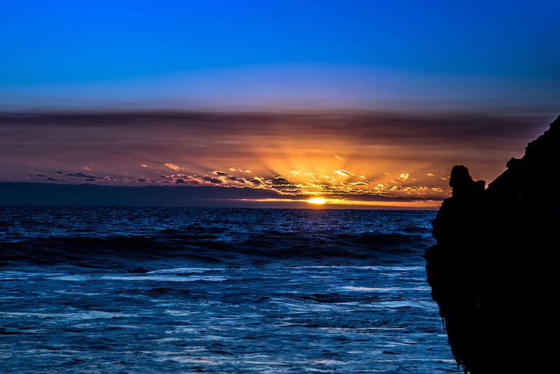 Tonight's light show Sea Beach Sunset Cloud - Sky Night Horizon Over Water Landscape Sky Water Nature Beauty Taking Photos Enjoying Life Relaxing