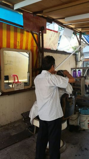 Old school way of getting hair cut! :) Singapore Oldschool Jalansultan Onlyinsingapore