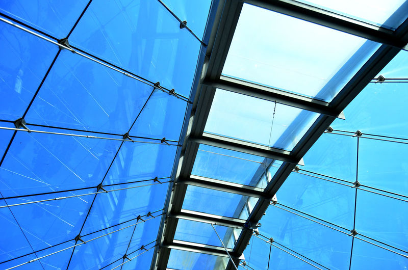 Architecture Backgrounds Blue Built Structure Ceiling Day Directly Below Full Frame Geometric Shape Glass - Material Low Angle View Metal Modern Nature No People Outdoors Pattern Sky Skylight Transparent Window 17.62°