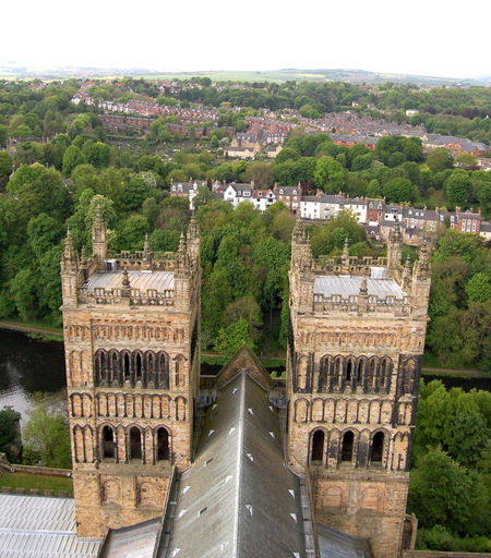 Architecture Building Exterior Built Structure Day Durham Durham Cathedral History Nature No People Outdoors Sky Tree Two Towers Water
