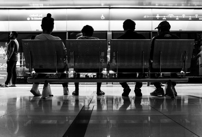 Group Shot, Group Of People Indoor Men Mode Of Transportation Passenger People Rear View Transportation Travel Waiting