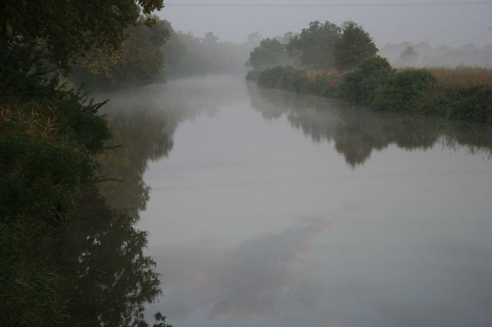 Morning mist on the Canal du Miidi Beauty In Nature Canal Day Fog Hazy  Landscape Mist Morning Mist In Landscape Nature No People Outdoors River Scenics Sky Tranquil Scene Tranquility Tree Water
