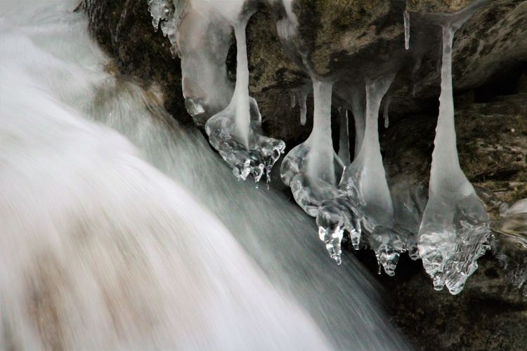 Ice Iceformation Nature Nature Photography Winter Beauty In Nature Close-up Cold Temperature Day Icicle Long Exposure No People Outdoors Power In Nature Snow Water Waterfall Winter Wonderland