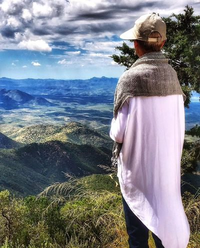 Beauty In Nature Scenics Landscape Mountain Real People One Person Cloud - Sky Lifestyles Rear View Meditation Time Mountains And Sky Nature Day Sky Outdoors Leisure Activity Standing Men Grass Tree People Mountain Gazing Be You Adult See Forever