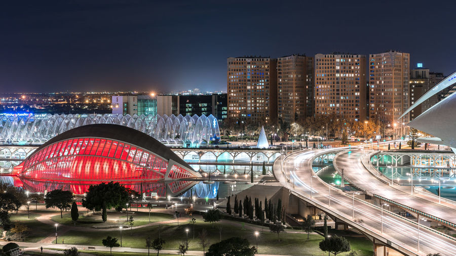 Keep an eye out Calatrava City Of Arts And Sciences Of Valencia, Spain From Above  Night Lights Nightphotography Panoramic SPAIN Valencia, Spain Architecture Building Exterior Built Structure City City Life Cityscape Elevated View Illuminated Long Exposure Modern Night No People Outdoors Park - Man Made Space Travel Destinations Urban Urban Skyline